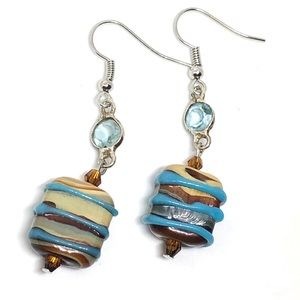 Brown Cream Blue Striped Square Art Glass Earrings